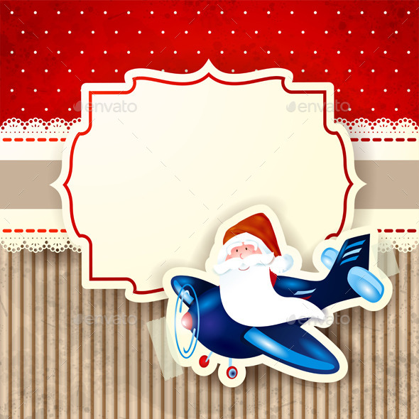 GraphicRiver Santa Claus and the Airplane over Red Background 9353257