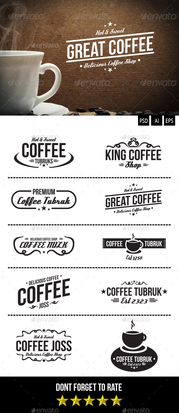 GraphicRiver Retro Coffee Badges 9347369