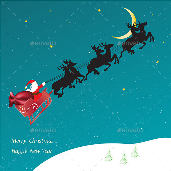 GraphicRiver Christmas Card Flying Sledge with Santa Claus 9355169