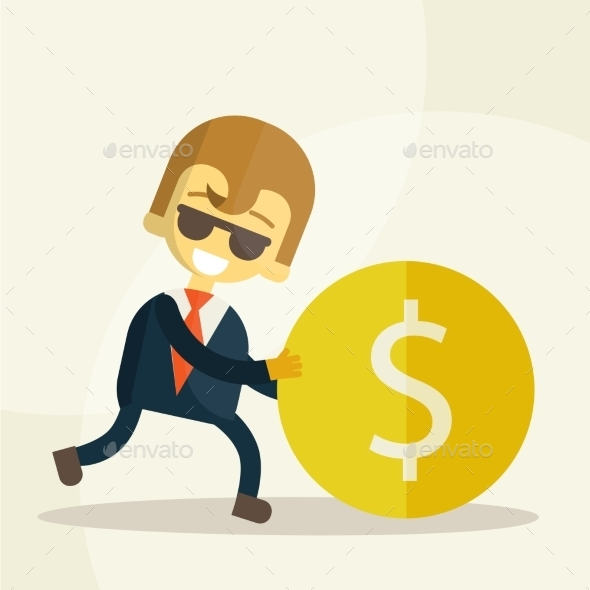 GraphicRiver Businessman Rolls Coin 9355404