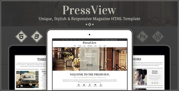 ThemeForest PressView Vintage and Stylish Magazine Template 9217513