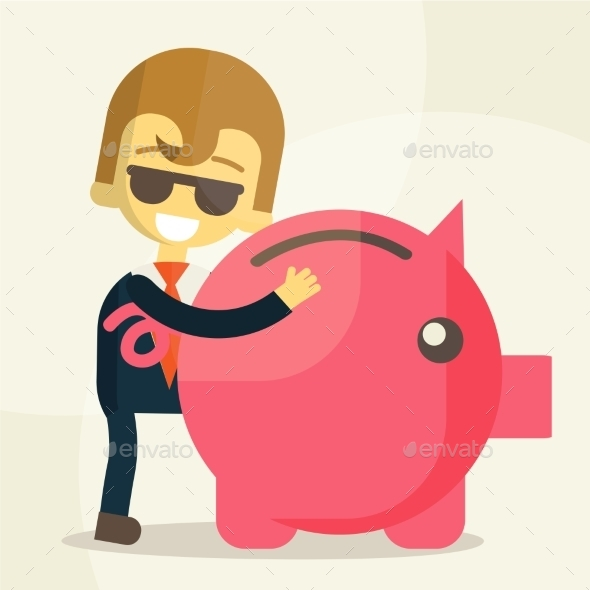 GraphicRiver Business Man Save Money 9355538