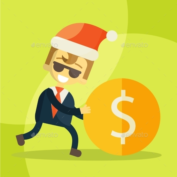 GraphicRiver Businessman Rolls Coin Christmas 9355589
