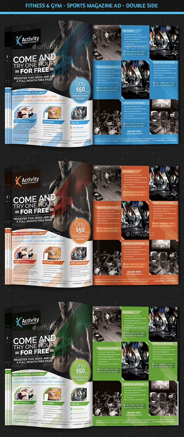 Fitness & Gym - Sports Magazine Ad - Magazines Print Templates