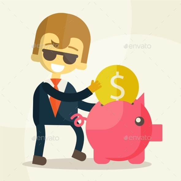 GraphicRiver Businessman Putting Coin into Piggy Bank 9355650