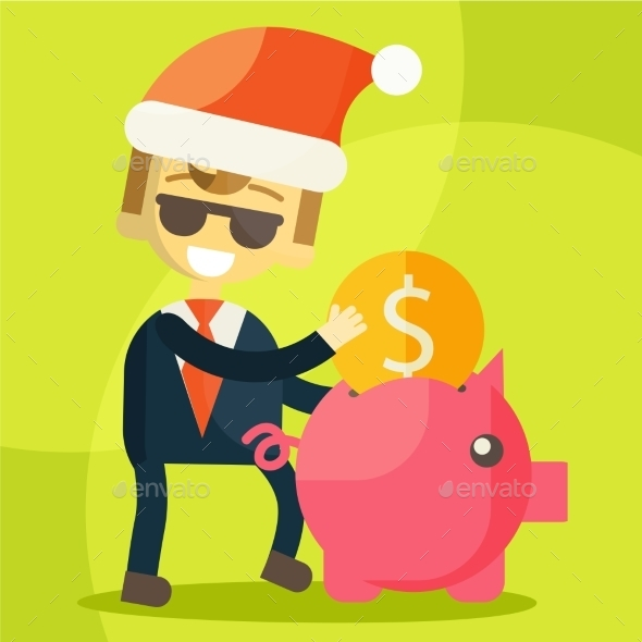 GraphicRiver Businessman putting Coin into Piggy Bank 9355655
