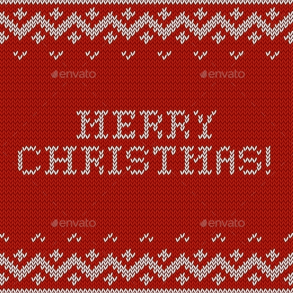 GraphicRiver Card of Merry Christmas with Knitted Texture 9355661