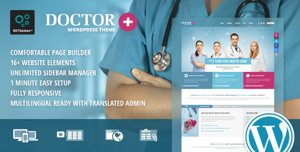 Responsive Medical/ Hospital/ Doctor WordPress Theme free Download