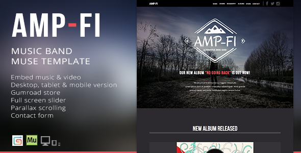 ThemeForest Amp-Fi OnePage Music Band Muse Template 9356103