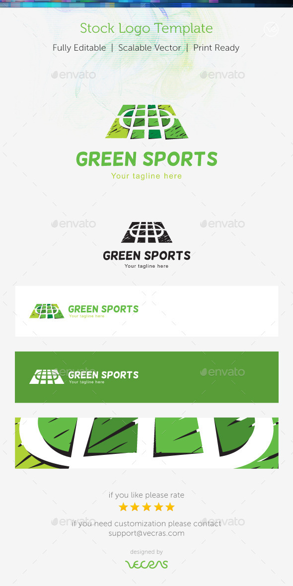 GraphicRiver Green Sports Stock Logo Template 9356198