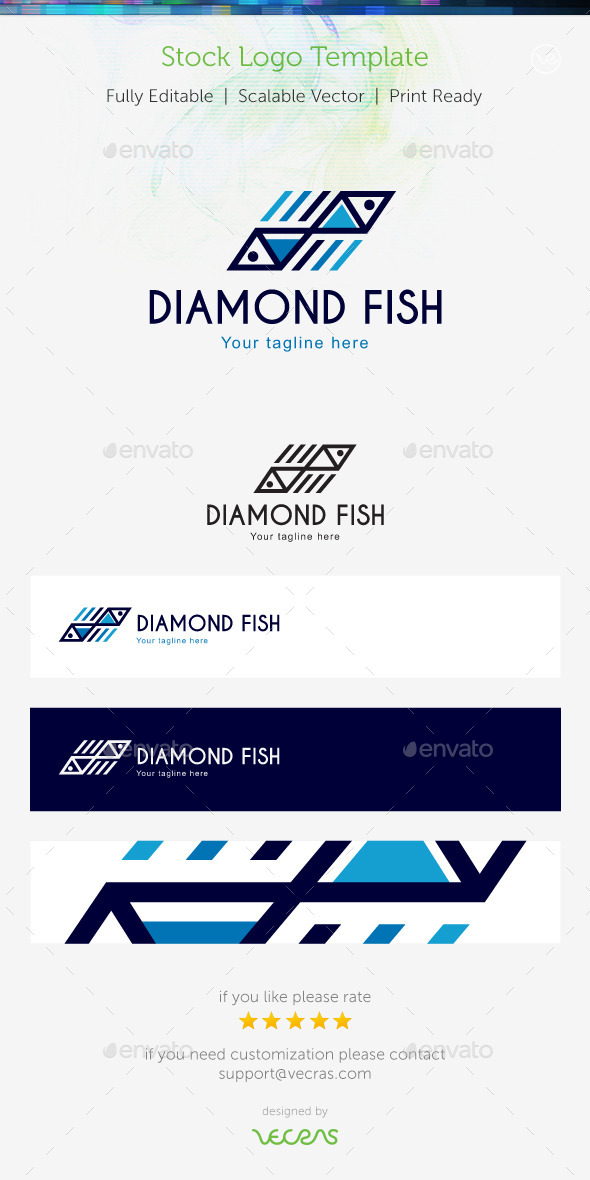 GraphicRiver Diamond Fish Stock Logo Template 9356206
