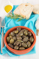 olives with olive oil and bread