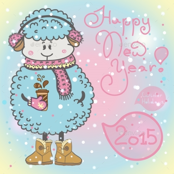 GraphicRiver New Year Card with Cartoon Sheep 9356265