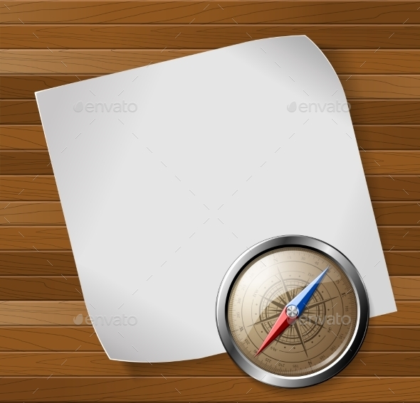 GraphicRiver Compass and Paper Sheet over Wooden Background 9356292