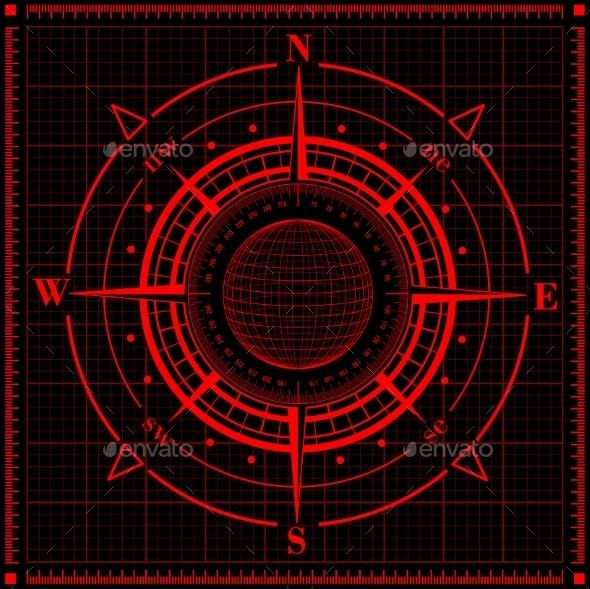 GraphicRiver Radar Compass Rose with Globe 9356377