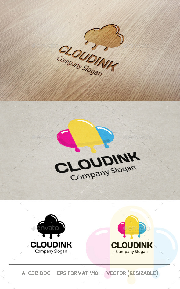 GraphicRiver Cloud Ink Logo 9356543