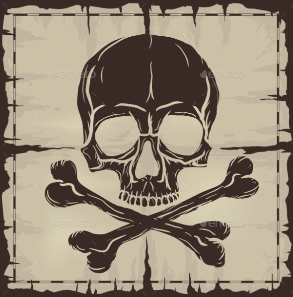 GraphicRiver Skull and Crossbones over Old Damaged Map 9356651