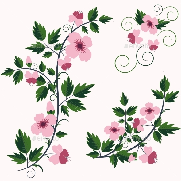 GraphicRiver Vector Retro Floral Background with Flowers 9357139