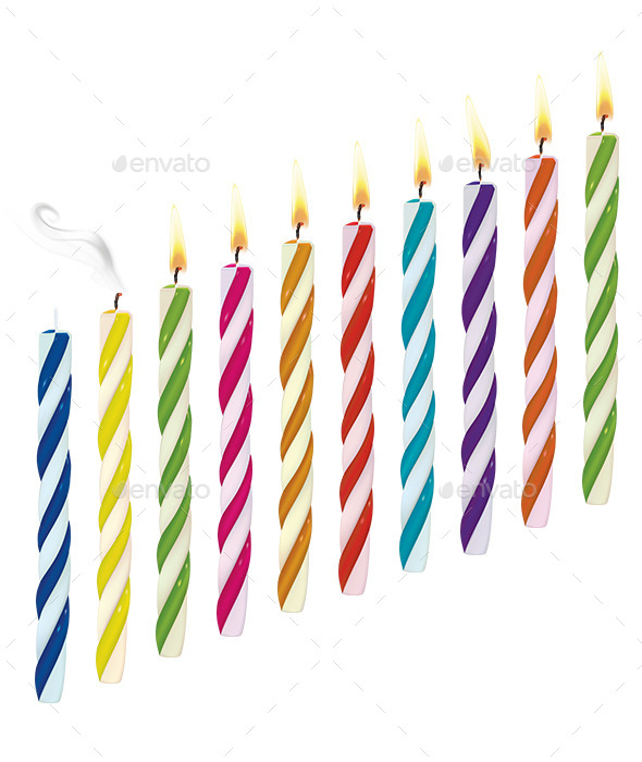 GraphicRiver Set of Birthday Multicolored Candles 9319905