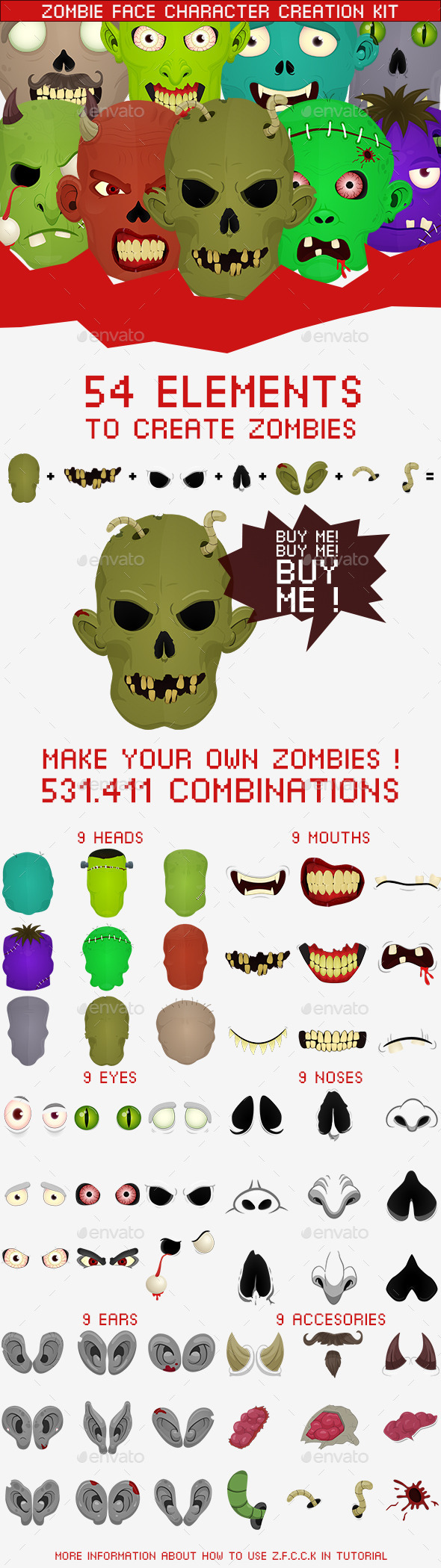 GraphicRiver Zombie Face Character Creation Kit 9357953