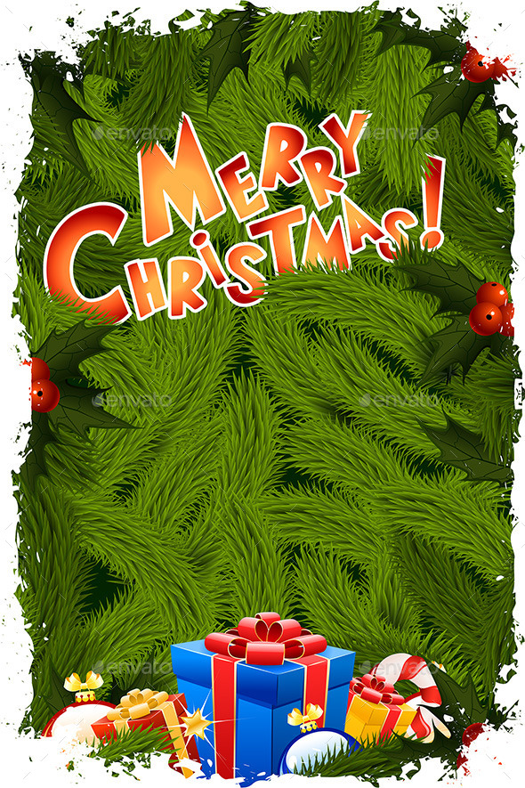 GraphicRiver Grungy Merry Christmas Greeting Card 9357978
