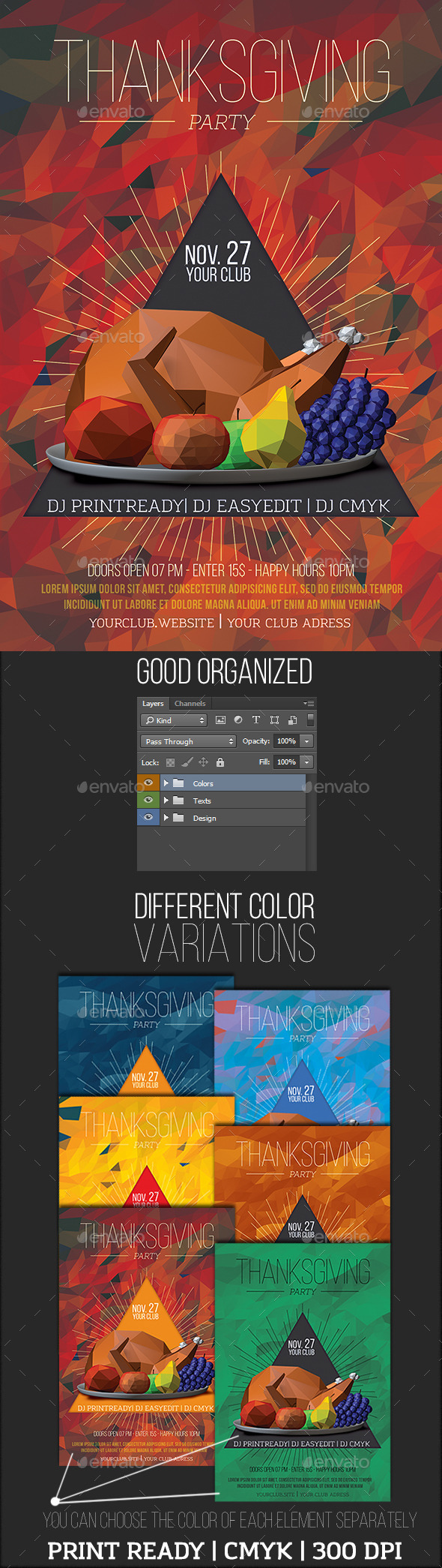 GraphicRiver Lowpoly Thanksgiving Party Flyer 9317946
