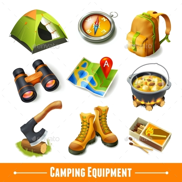 GraphicRiver Camping Icons Set 9358269