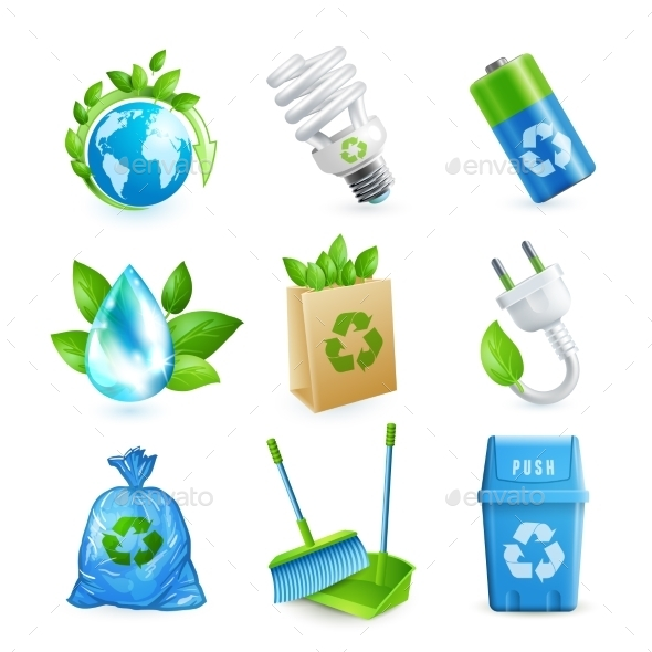 GraphicRiver Ecology and Waste Icon Set 9358278