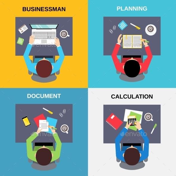 GraphicRiver Top View Businessman Set 9358299