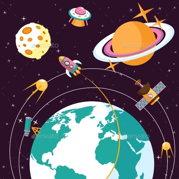 GraphicRiver Space Flat Illustration 9358341