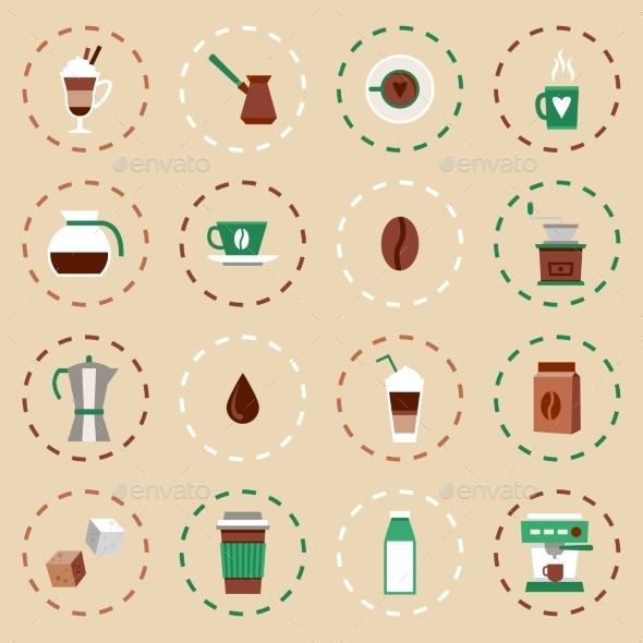 GraphicRiver Coffee Flat Icons Set 9358438