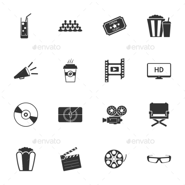 GraphicRiver Cinema Black and White Flat Icons Set 9358492