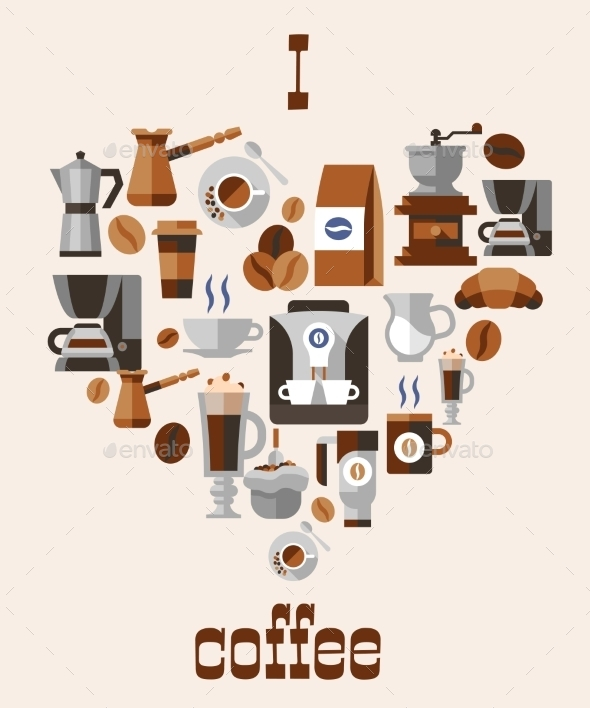 GraphicRiver Love Coffee Concept 9358557
