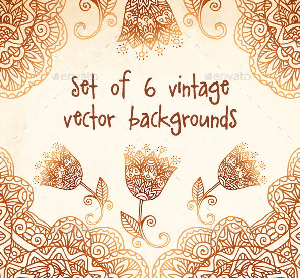GraphicRiver Set of 6 Vintage Vector Backgrounds 9358566