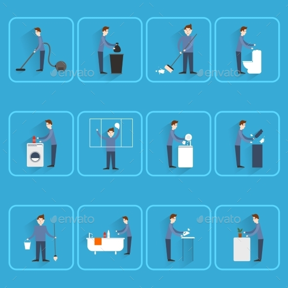 GraphicRiver People Cleaning Icons 9358594