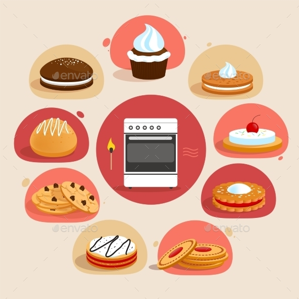 GraphicRiver Cookies Decorative Set 9358595