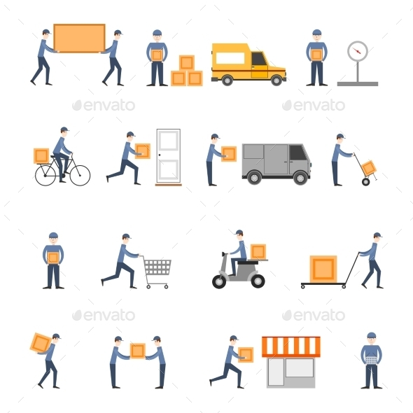 GraphicRiver Delivery Icons Flat Set 9358614