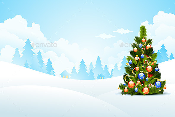 GraphicRiver Christmas Landscape 9359124