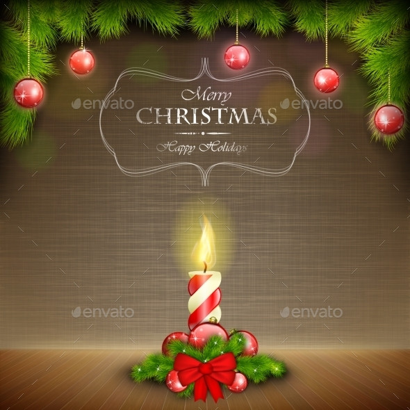 GraphicRiver Christmas Candle on Scratched Background 9359141