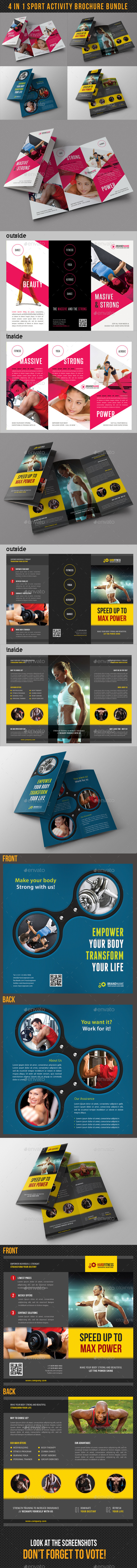 GraphicRiver 4 in 1 Sport Activity Brochure Bundle 9359154