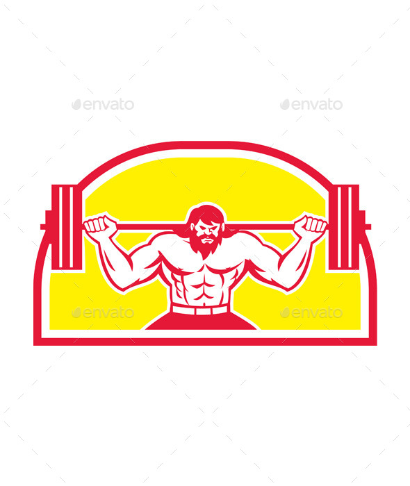 GraphicRiver Bodybuilder Lifting Barbell Retro 9359934