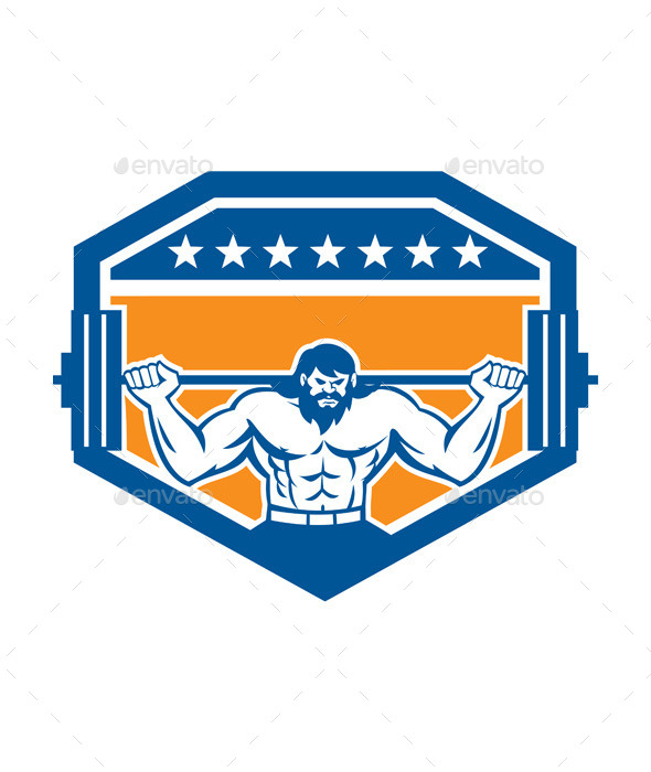 GraphicRiver Bodybuilder Lifting Barbell Shield Retro 9359936