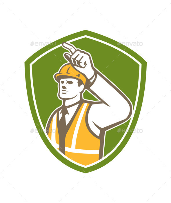 GraphicRiver Builder Construction Worker Pointing Shield Retro 9359939