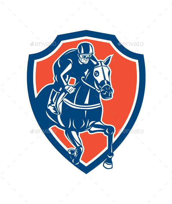 GraphicRiver Jockey Horse Racing Shield Retro 9359952