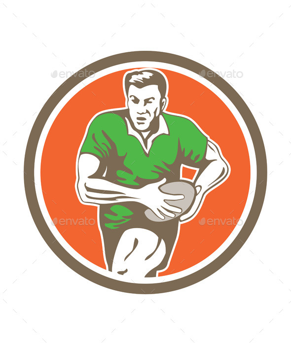 GraphicRiver Rugby Player Running Ball Circle Retro 9359956