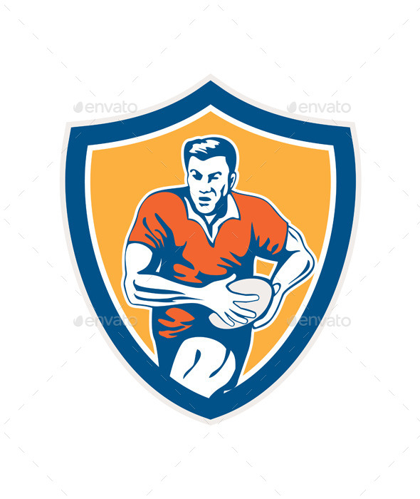 GraphicRiver Rugby Player Running Ball Shield Retro 9359958