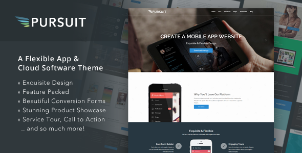 ThemeForest Pursuit Flexible App & Cloud Software Theme 9095879