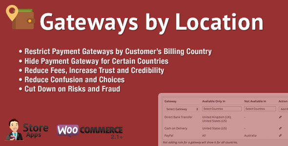 CodeCanyon WooCommerce Gateways by Location 9360470