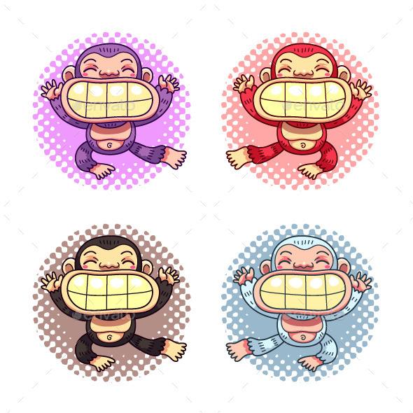 GraphicRiver Cartoon Gorillas 9360629