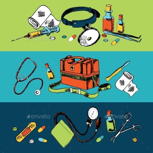GraphicRiver Medicine Sketch Icons Color Set 9361043